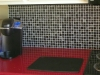 Modern Tile Backsplash with a Red Corian Countertop