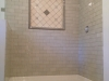 Subway tile shower with 30 inch recessed Decorative shelf