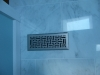 White Marble Tile Floor with Decorative Brushed Nickel Floor Vent