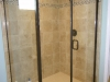 Travertine Tile Shower with Decorative Glass and Natural Stone Mixed Mosaic Accent