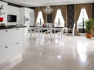 Kitchen And Dining Room Remodel With White Marble Floors.